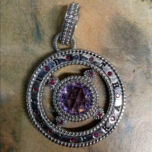 Judith Ripka round colored stone amethyst pendant